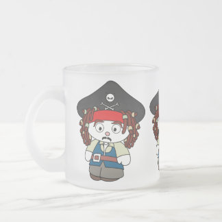 Pirata torpe del dibujo animado taza de café esmerilada
