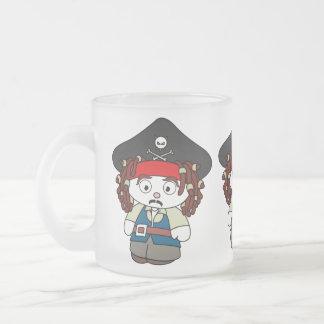 Pirata torpe del dibujo animado taza de cristal