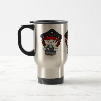 Pirata torpe del dibujo animado taza de viaje