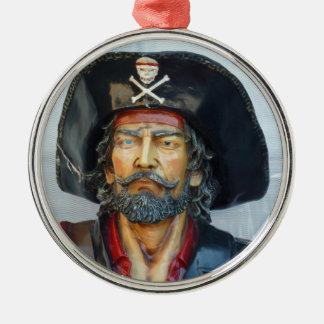 Pirata único del vintage adorno redondo plateado