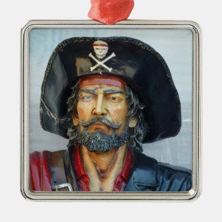 Pirata único del vintage adorno cuadrado plateado