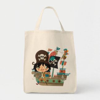 Pirata y barco pirata bolsa tela para la compra