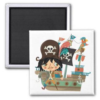 Pirata y barco pirata imán de frigorífico