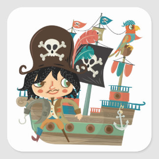 Pirata y barco pirata colcomania cuadrada