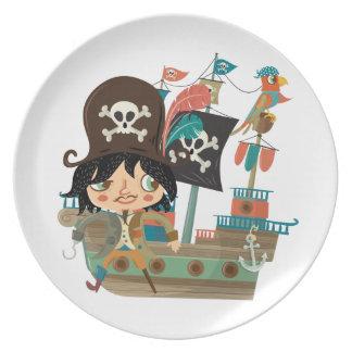 Pirata y barco pirata plato de cena