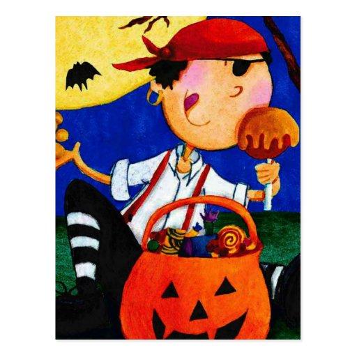 pirata y calabaza tarjetas postales