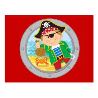 Pirata y cangrejo tarjetas postales