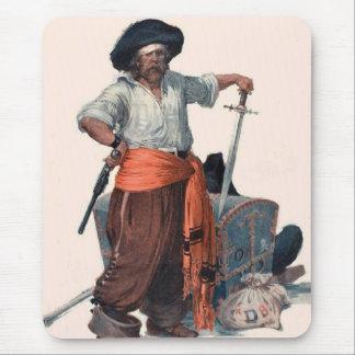 Pirata y cofre del tesoro alfombrilla de raton