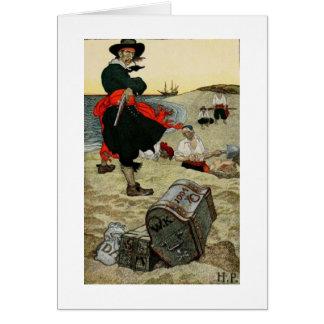 Pirata y cofre del tesoro tarjeta de felicitación