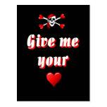 Pirata y corazones tarjetas postales
