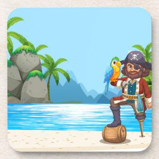 Pirata y loro en la playa posavasos