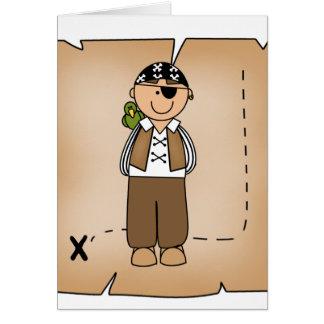 Pirata y mapa del muchacho tarjetas