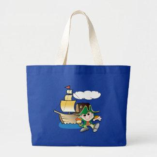 Pirata y nave del dibujo animado bolsas de mano