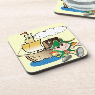 Pirata y nave posavasos de bebidas