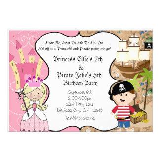 Pirata y princesa Birthay Party Invitation Invitacion Personal