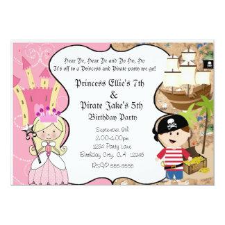 """Pirata y princesa Birthay Party Invitation Invitación 5"""" X 7"""""""