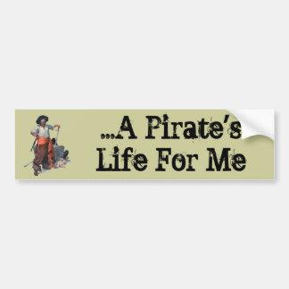 Pirata y tesoro etiqueta de parachoque