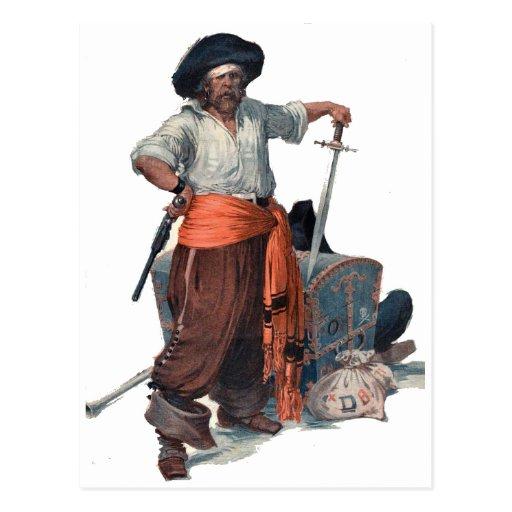 Pirata y tesoro tarjetas postales