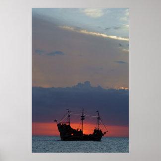 Piratas 4 de la puesta del sol impresiones
