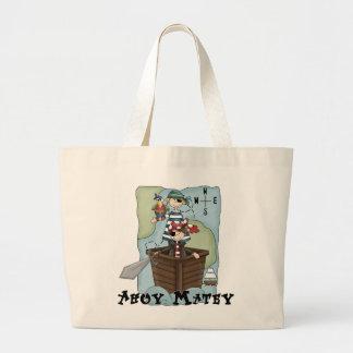 Piratas Ahoy Tshirs y regalos Bolsa Tela Grande