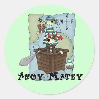 Piratas Ahoy Tshirs y regalos Pegatina Redonda
