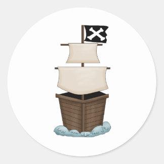 Piratas · Barco pirata Pegatinas Redondas