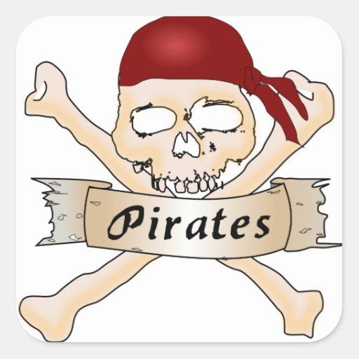 Piratas Calcomanía Cuadradas
