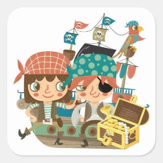 Piratas con el tesoro colcomanias cuadradases