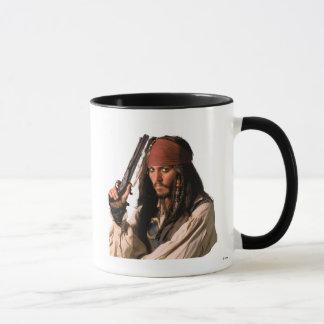 Piratas de Jack Sparrow del Caribe con el arma Taza