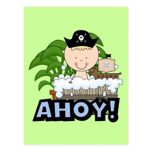 Piratas de la bañera - camisetas y regalos rubios  tarjeta postal