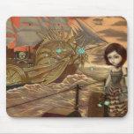 Piratas de Steampunk:  Puesta del sol marítima Mou Alfombrillas De Raton