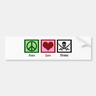 Piratas del amor de la paz etiqueta de parachoque