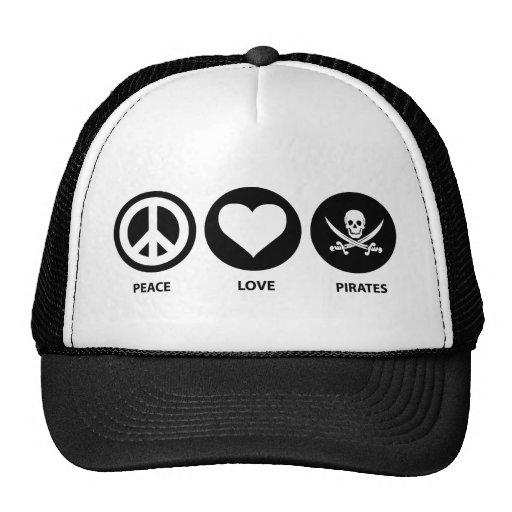 Piratas del amor de la paz gorros