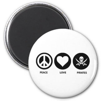 Piratas del amor de la paz imán redondo 5 cm