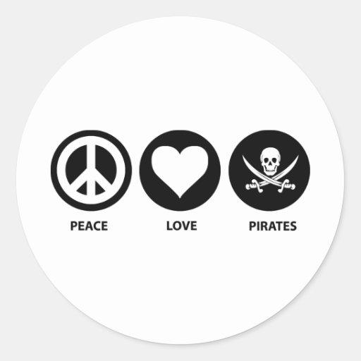 Piratas del amor de la paz pegatina