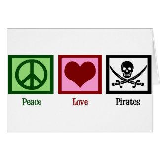 Piratas del amor de la paz tarjeta de felicitación