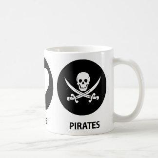 Piratas del amor de la paz taza básica blanca
