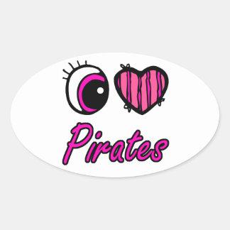 Piratas del amor del corazón I del ojo de Emo Calcomania De Oval