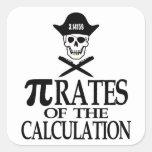 Piratas del cálculo calcomanías cuadradas