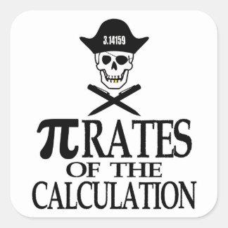 Piratas del cálculo pegatina cuadrada