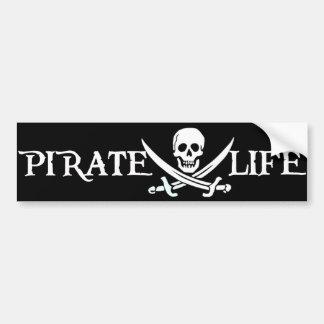 Piratas del Caribe de la vida del pirata Pegatina De Parachoque