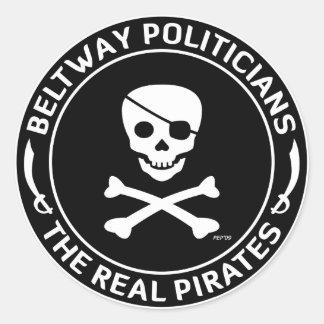 Piratas del cinturón de ronda pegatina redonda