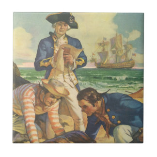 Piratas del cuento de hadas del vintage, isla del azulejo cuadrado pequeño