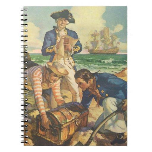 Piratas del cuento de hadas del vintage, isla del libreta
