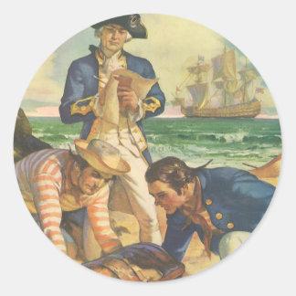 Piratas del cuento de hadas del vintage, isla del pegatinas redondas