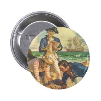 Piratas del cuento de hadas del vintage, isla del chapa redonda 5 cm