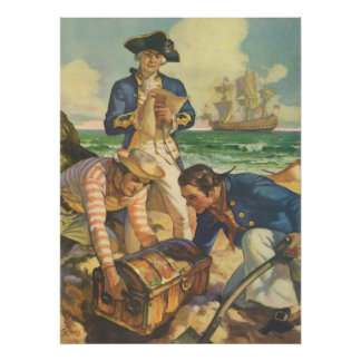 Piratas del cuento de hadas del vintage, isla del póster
