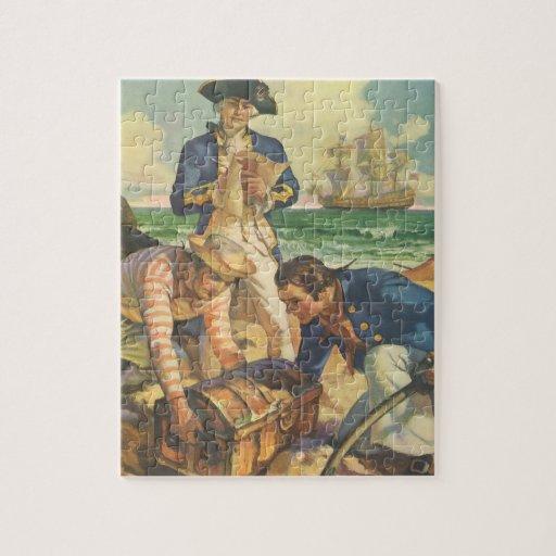 Piratas del cuento de hadas del vintage, isla del puzzle