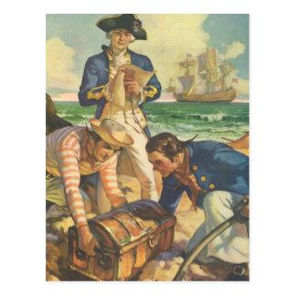 Piratas del cuento de hadas del vintage, isla del tarjetas postales
