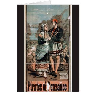 Piratas del teatro del vintage de Penzance Felicitación